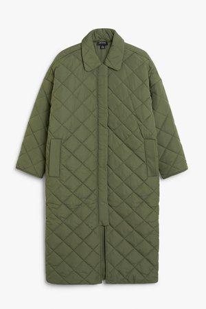 Long quilted coat - Khaki green - Coats - Monki GB