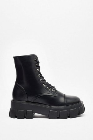 Cleated Chunky Biker Boots   Nasty Gal