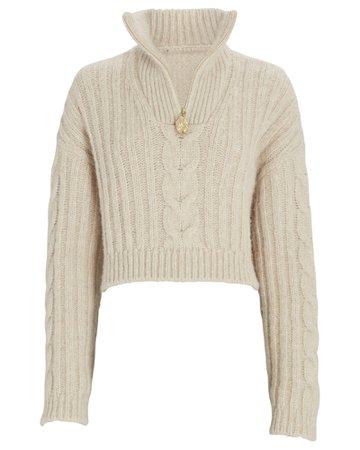 Nanushka Evie Half-Zip Cable Knit Sweater | INTERMIX®