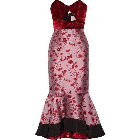 Johanna Ortiz Lavina cutout velvet and jacquard midi dress