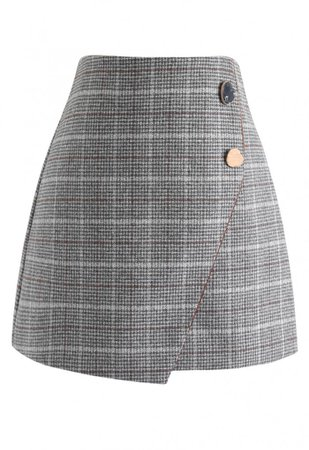 Plaid Button Trim Tweed Flap Skirt in Grey - NEW ARRIVALS - Retro, Indie and Unique Fashion