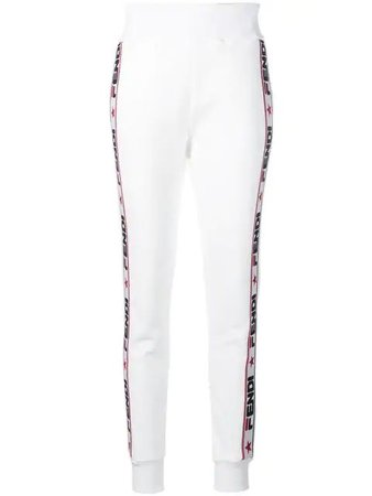 FENDI Appliquéd Cotton-blend Jersey Track Pants In White