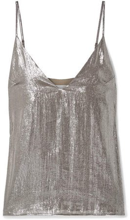 The Olivia Silk-blend Lamé Camisole - Silver