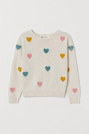Fine-knit cotton jumper - White/Hearts - Kids | H&M GB