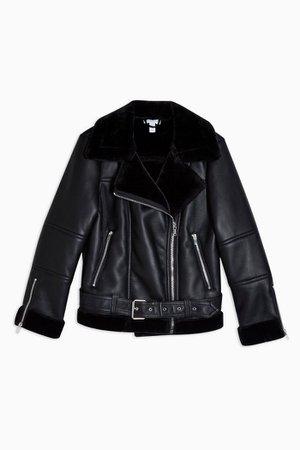 PETITE Black Leather Look Biker Jacket | Topshop