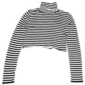 black white striped turtle neck crop top