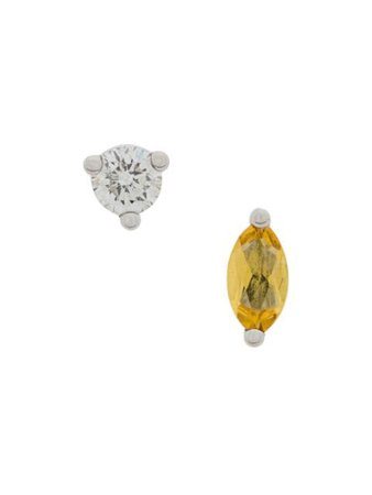 Delfina Delettrez 18Kt White Gold Dots Solitaire Yellow Beryllium And Diamond Earrings NTL5017CNTL5015BSET Metallic | Farfetch