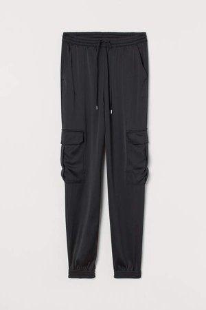 Satin Cargo Pants - Black