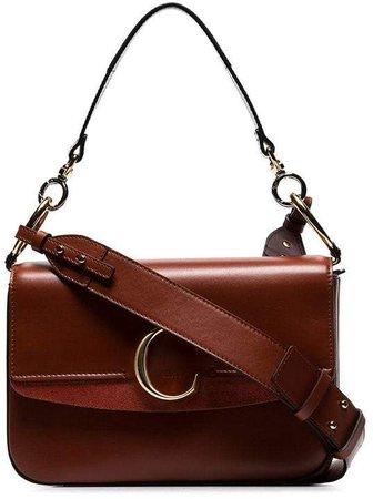sepia brown medium C ring leather shoulder bag