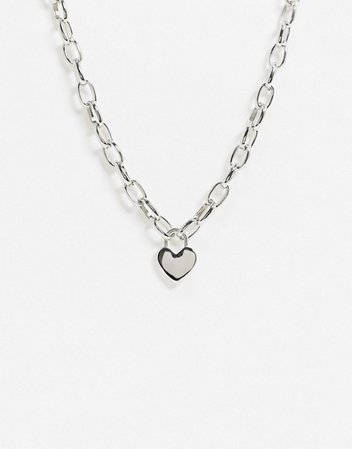 Topshop chunky silver necklace with heart pendant | ASOS