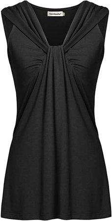 Nandashe Womens Summer Tunic Tanks Casual V Neck Cross-Front Twist Knot Sleeveless Shirt Tops at Amazon Women's Clothing store