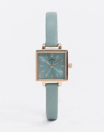 Limit square dial faux leather watch in green | ASOS