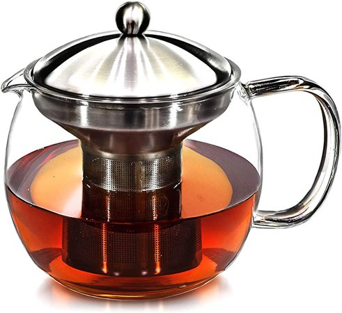 Amazon.com | Teapot with Infuser for Loose Tea - 40oz, 3-4 Cup Tea Infuser, Clear Glass Tea Kettle Pot with Strainer & Warmer - Loose Leaf, Iced Tea Maker & Brewer: Teapots