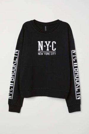Sweatshirt with Printed Design - Black