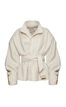 Alexandre Vauthier Tweed Wool-Blend Belted Coat