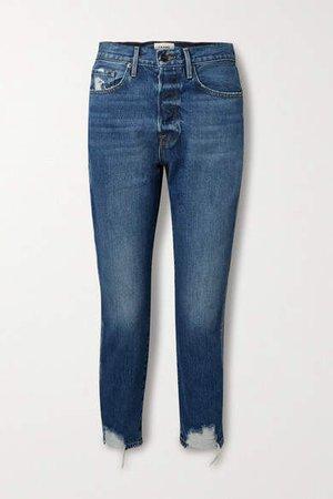 Le Original Cropped Distressed High-rise Straight-leg Jeans - Mid denim
