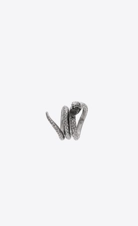 ‎Saint Laurent ‎Snake Ring In Silver Metal With a Black Glass Bead. ‎ | YSL.com
