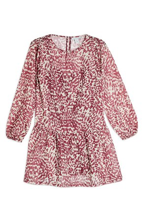 Topshop Animal Print Long Sleeve Minidress | Nordstrom