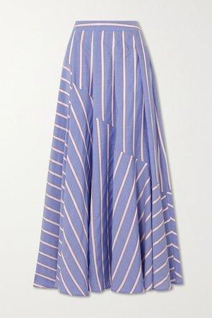 Blue Pleated striped Lyocell-blend maxi skirt | palmer//harding | NET-A-PORTER
