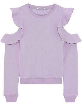Gracie Cold-shoulder Ruffled Cotton-blend Fleece Sweatshirt
