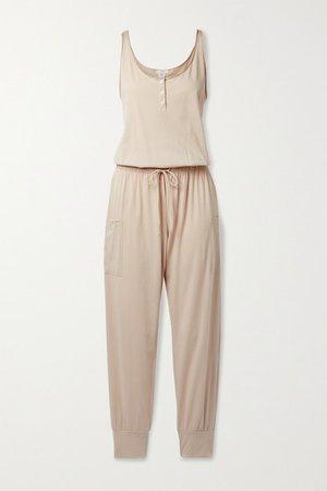 Brie Cotton-jersey Jumpsuit - Pastel pink