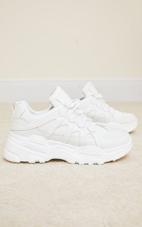 White Chunky Panel Detail Sole Pu Trainer | PrettyLittleThing USA