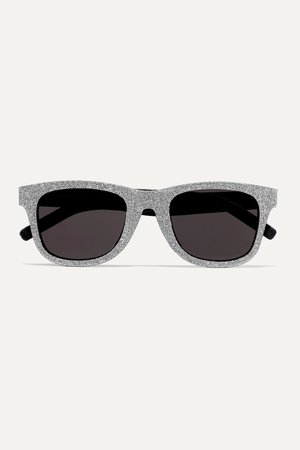 Silver Square-frame glittered acetate and leather sunglasses | SAINT LAURENT | NET-A-PORTER