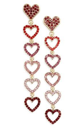 Stella + Ruby Open Heart Linear Earrings | Nordstrom