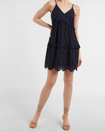 Eyelet Lace Tiered Ruffle Trapeze Dress