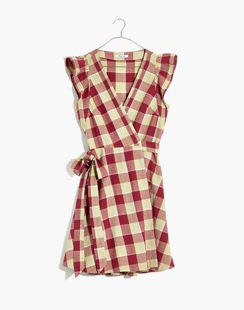 Gingham Ruffled Wrap Mini Dress