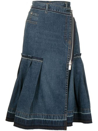 Shop sacai fluted midi denim skirt with Express Delivery - FARFETCH