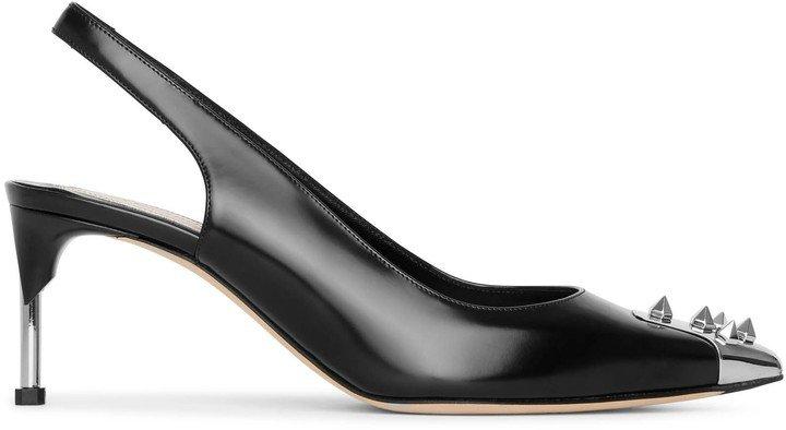 Slingback pin heel black leather pumps