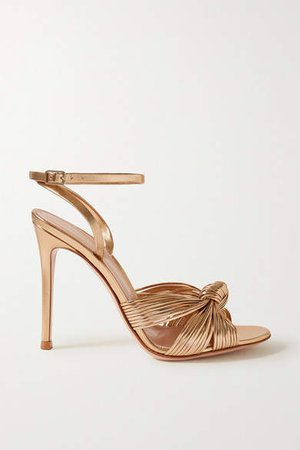 Portia 105 Knotted Metallic Leather Sandals - Gold