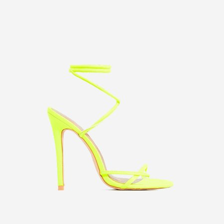 Rochelle Lace Up Barely There Heel In Neon Yellow Faux Leather | EGO