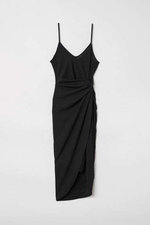 Draped Wrap-front Dress - Black