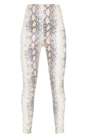 White Snakeskin Faux Leather Trouser | PrettyLittleThing