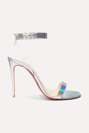 Jonatina 100 Pvc-trimmed Iridescent Leather Sandals - Metallic