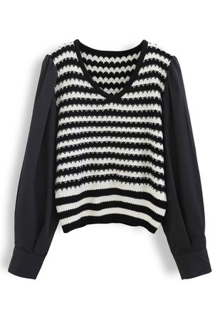 Cotton Sleeves Striped Knit Sweater in Black - Retro, Indie and Unique Fashion
