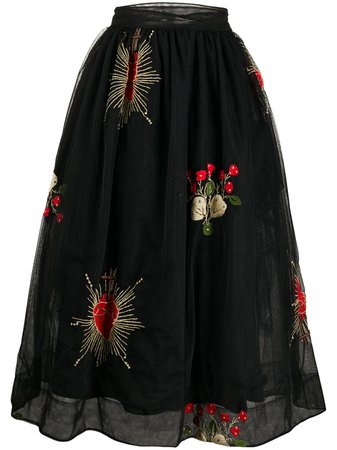 Shop black Simone Rocha embroidered floral midi skirt with Express Delivery - Farfetch