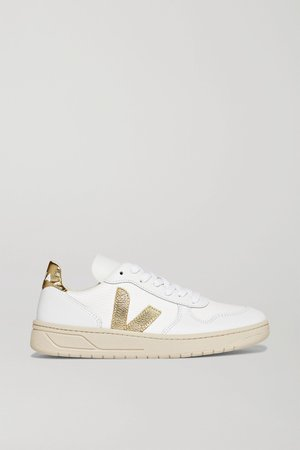 White + NET SUSTAIN V-10 metallic-trimmed leather and mesh sneakers   Veja   NET-A-PORTER