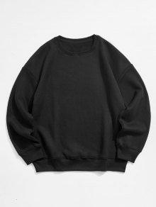 [38% OFF] [POPULAR] 2019 Solid Color Crew Neck Fleece Basic Sweatshirt In BLACK   ZAFUL