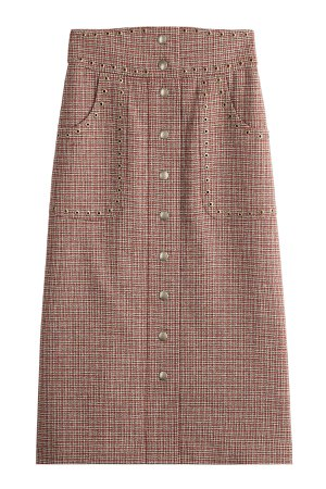 Wool Plaid Mid-Length Skirt with Eyelet Embellishment Gr. IT 38