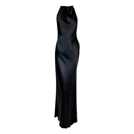 1999 Gucci Tom Ford Black Satin High Neck Choker Asymmetrical Gown Dress For Sale at 1stdibs