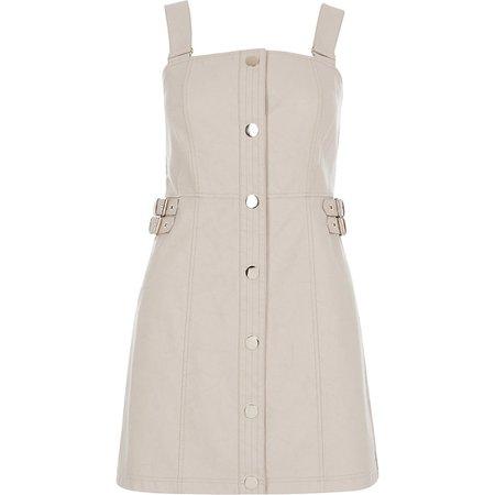 Stone faux leather pinafore mini dress | River Island