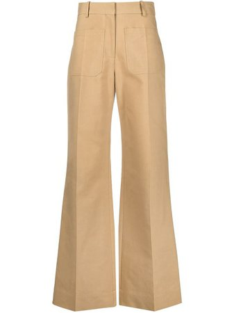 Shop Victoria Beckham high-waisted flared trousers with Express Delivery - Farfetch