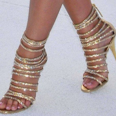 Gold Evening Shoes Rhinestone Stiletto Heel Strappy Sandals for Party for Night club, Big day, Red carpet | FSJ