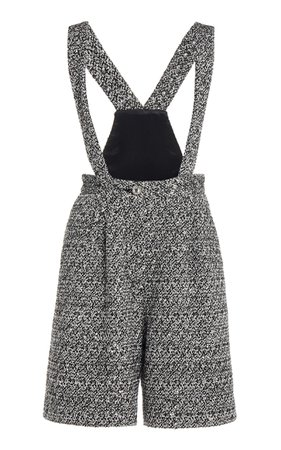 Alessandra Rich Sequin Tweed Shorts With Braces