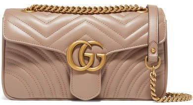 Gg Marmont Small Quilted Leather Shoulder Bag - Beige