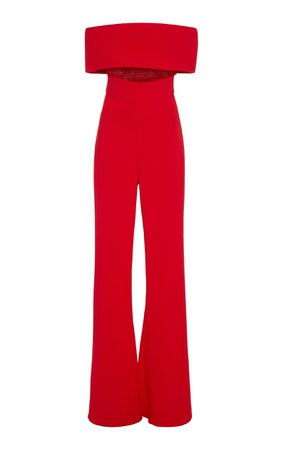 Cushnie Off-The-Shoulder Mesh-Paneled Crepe Jumpsuit