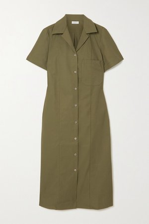 Lara Cotton-blend Poplin Midi Shirt Dress - Army green